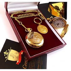 Gold Plated Bank of England Pocket Watch & Keyring