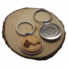 Boxing Wood & Silver Keyring Personalised Gift
