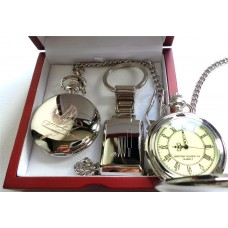 Cricket Ball Bats Silver Plated Pocket Watch with Wickets Keyring