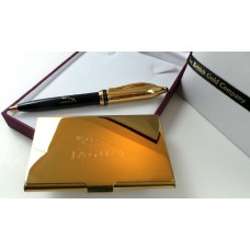 Gold Plated Jaguar Pen and Card Holder