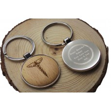 Medical Symbol Wood & Silver Personalised Keyring