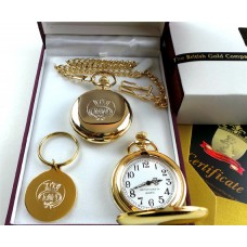 Merchant Navy Gold Plated Pocket Watch and Matching Keyring