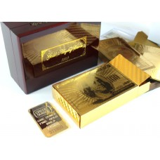 24K Gold Playing Cards with 1oz Gold Bar