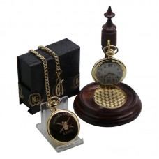 British Army Pocket Watch and Wooden Display Stand