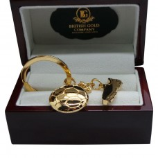 Football Boot Gold Plated Keyring in Polished Wood Box