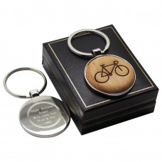 Cycling Bike Wood & Silver Custom Engraved Keyring