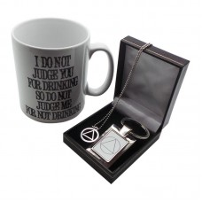 AA Alcoholics Anonymous Don't Judge 3 Piece Gift Set Necklace Mug Keyring