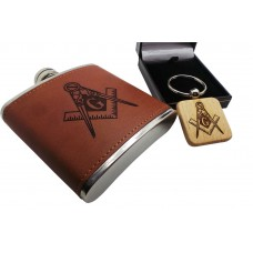 Masonic Hip Flask and Wooden Keyring