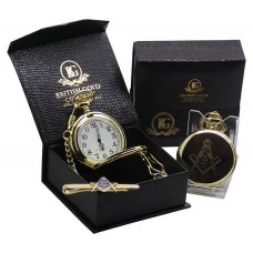 Freemason Gold Plated Pocket Watch and Tie Clip
