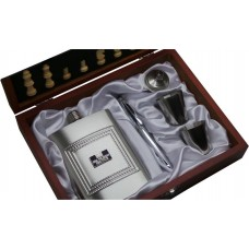 HM Prison Service Personalised Hip Flask and Chess Set
