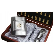 Legal Scales Personalised Hip Flask and Chess Set