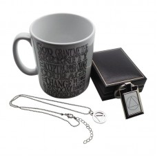 AA SERENITY PRAYER ID SOBRIETY SYMBOL x 3 Gift Set Necklace Mug Keyring 12 STEPS