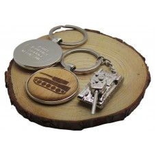 Army Tank Personalised Wooden Keyring and Silver Armoured Tank Keyring